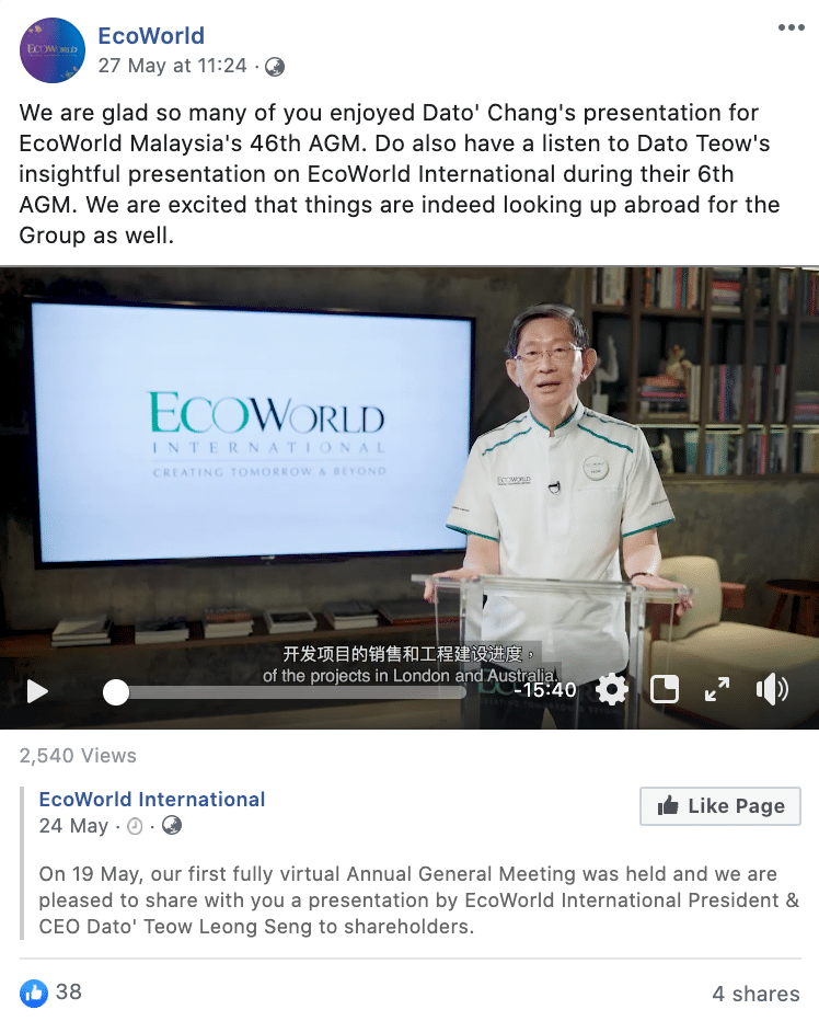 EcoWorld FB Live Meeting