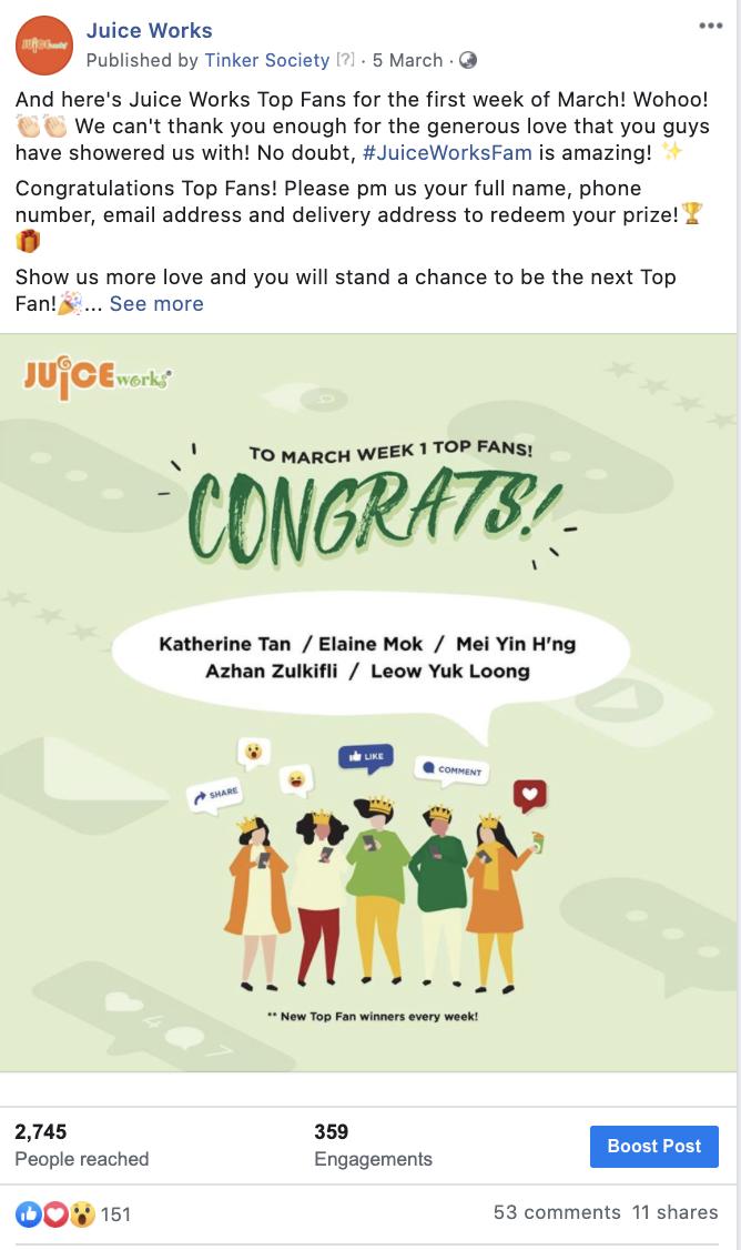 Juice Works Facebook Contest