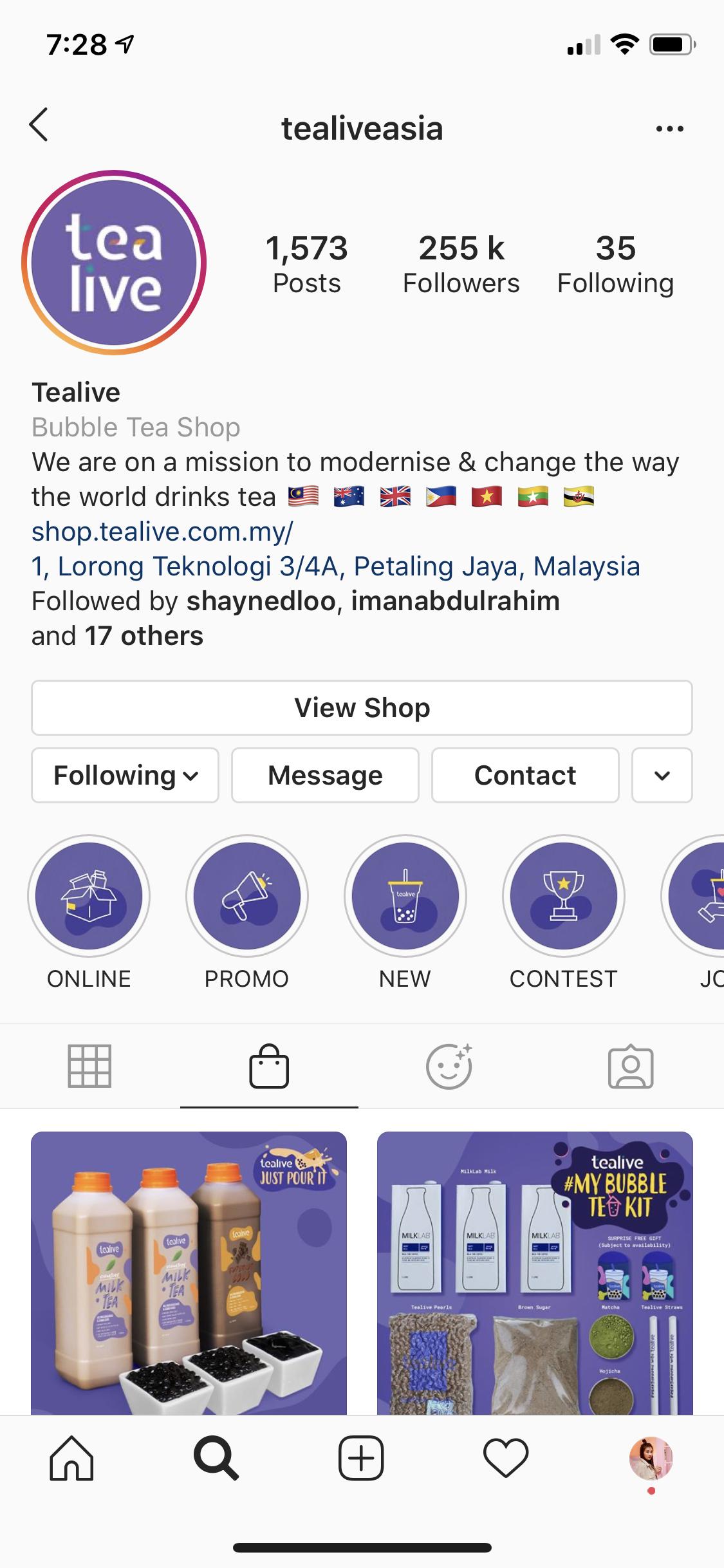 Tealive Instagram Shop