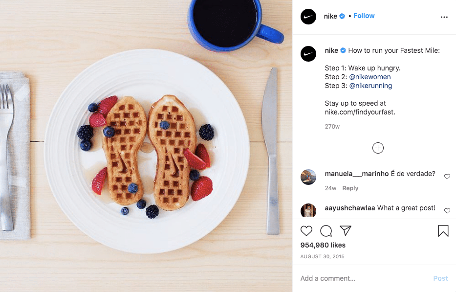 Nike Shoes-shaped waffles with berries and syrup on a plate