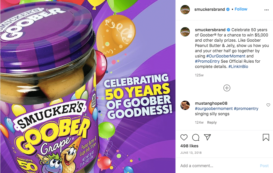 Colors of purple: An ad featuring Smucker's Goober Peanut Butter and Jelly