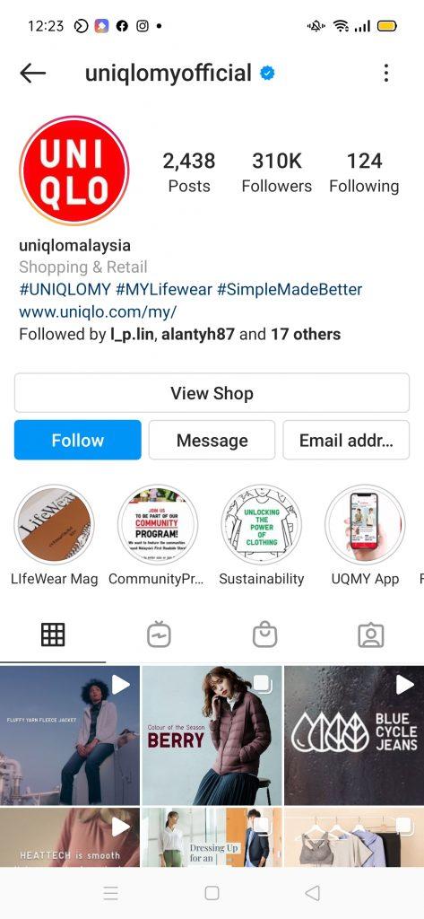 Uniqlo Instagram Shop