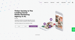 Tinker Society's landing page