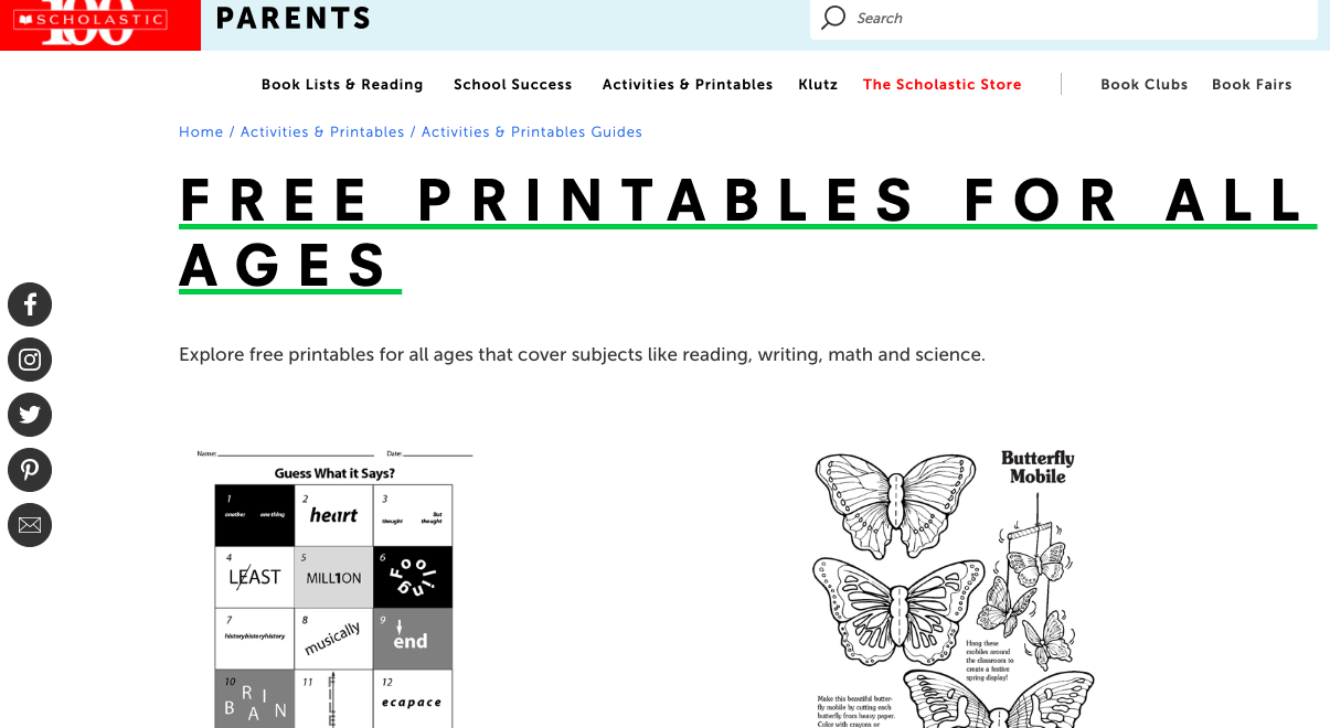 scholastic marketing to kids using printables