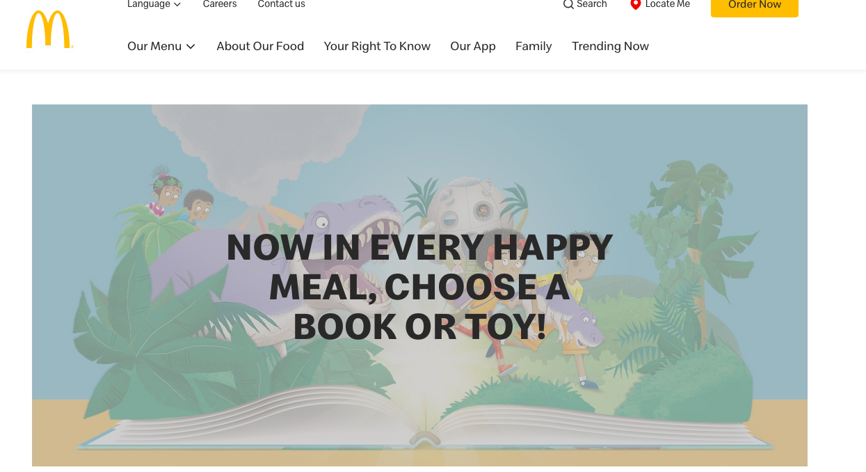 mcdonald's marketing to kids: choose book or toy!