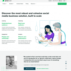 sprout social's landing page is a good example as they include testimonials/reviews from customers