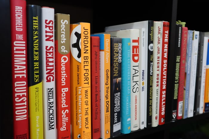 featured image for this article on book marketing: a row of colorful books