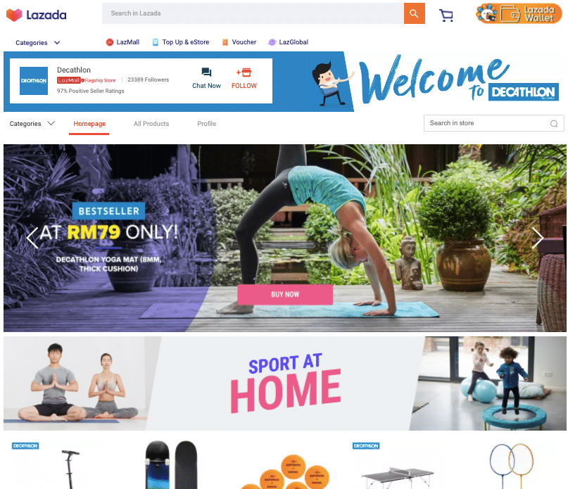 decathlon partnered with Lazada in Malaysia, as seen on this Lazada webpage
